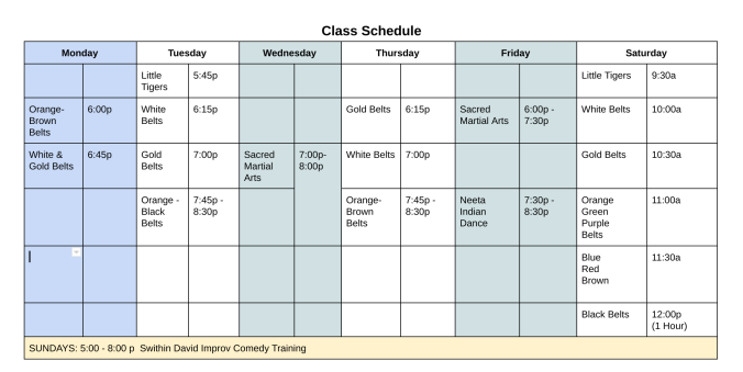 Integrity Martial Arts Schedule