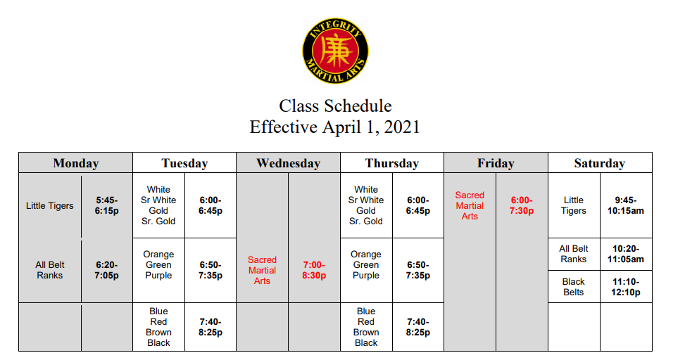 integrity martial arts schedule